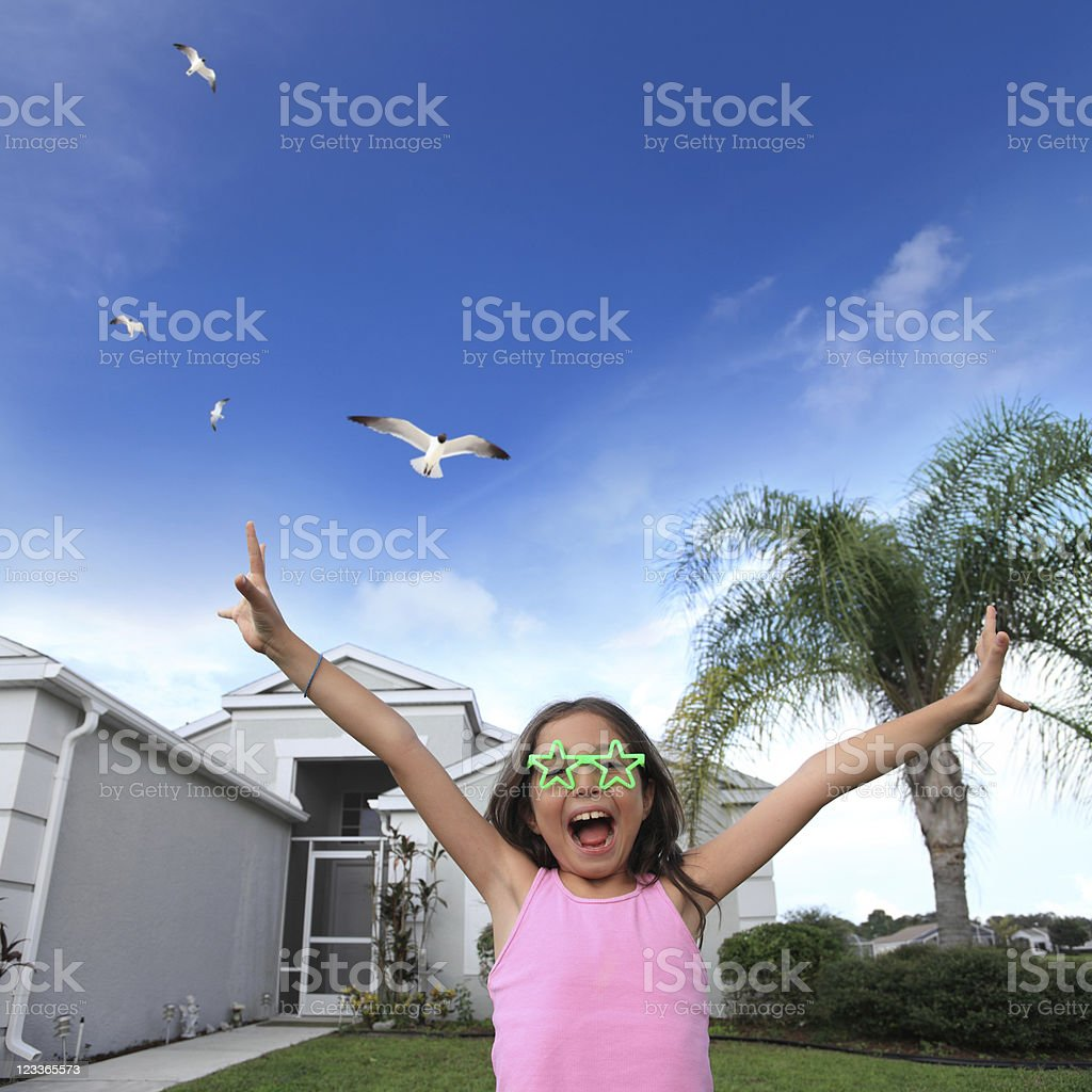 sweet home and happy little girl royalty-free stock photo