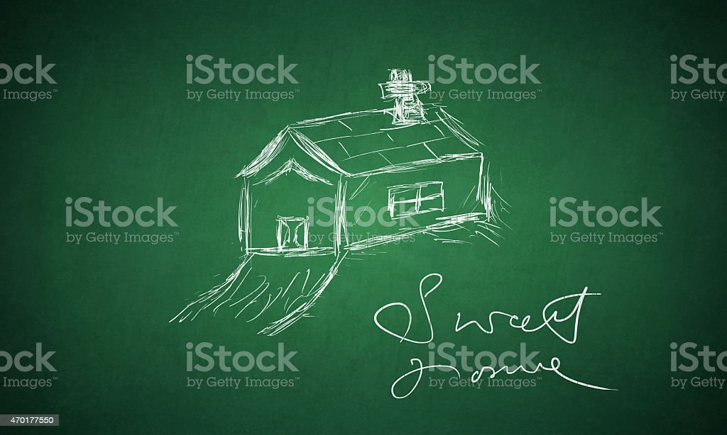 Sweet Home - drawn on green board stock photo