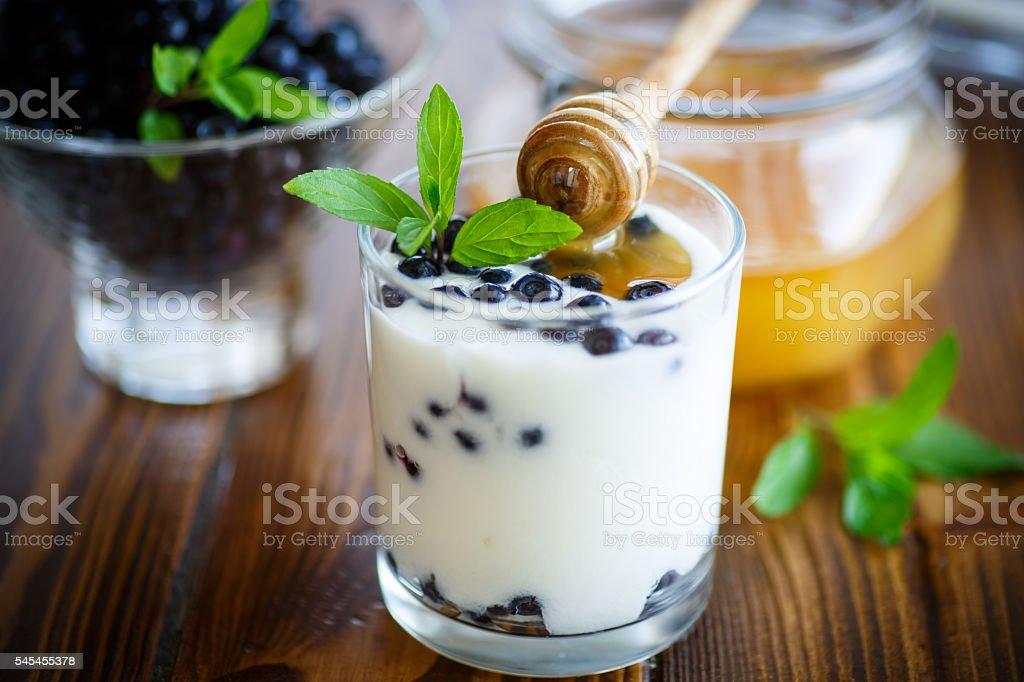 sweet homemade yogurt with blueberries and honey stock photo