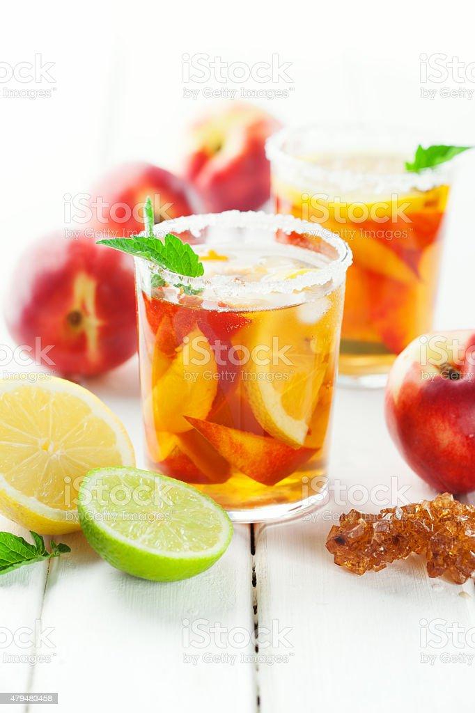 Sweet ice tea with lemon stock photo