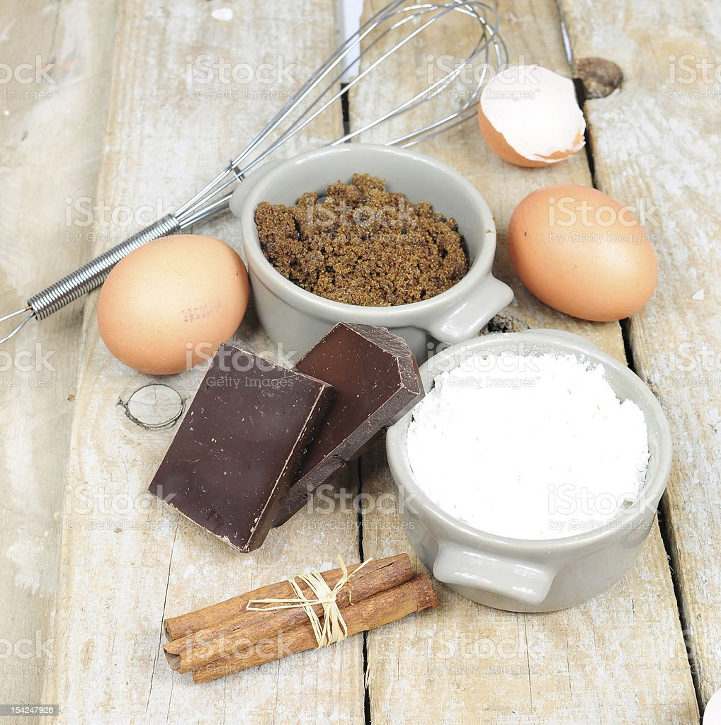 Sweet ingredients for cake stock photo