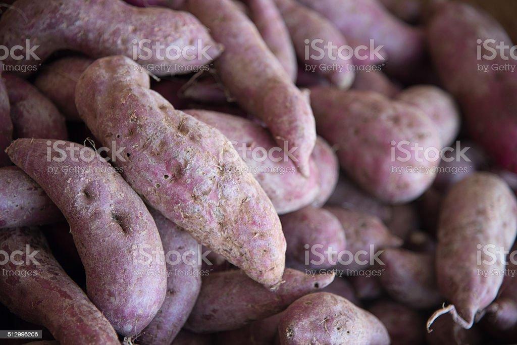 sweet japanese purple potato stock photo