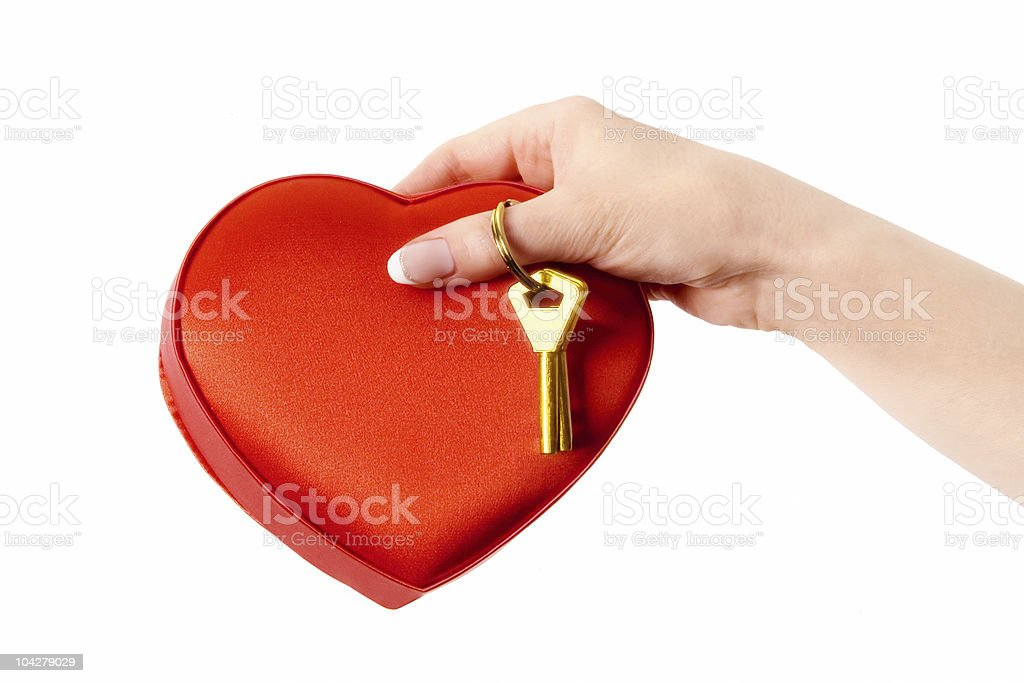 Sweet key from female heart. Concept royalty-free stock photo