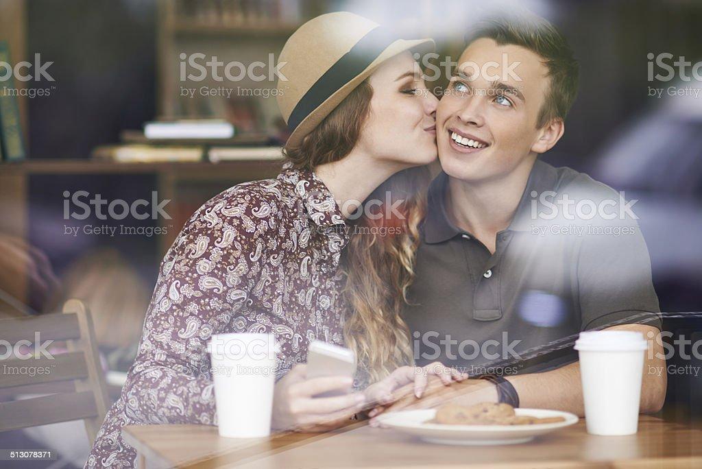 Sweet kiss stock photo