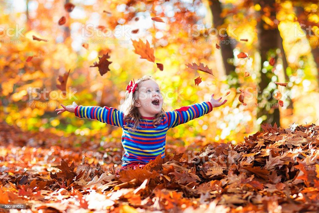Sweet little girl in autumn park stock photo