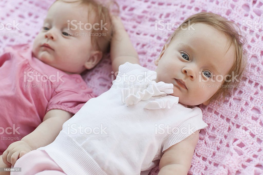 Sweet little  twins lying on a pink blanket. royalty-free stock photo
