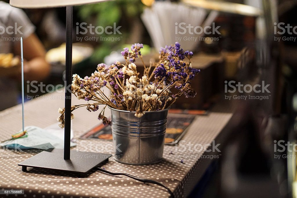 Sweet little white and purple flower stock photo