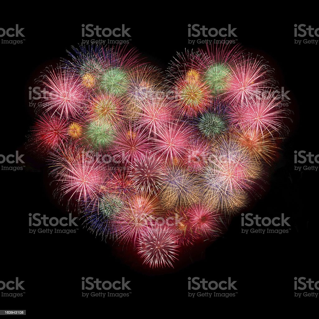 Sweet Love heart by Colorful fireworks royalty-free stock photo