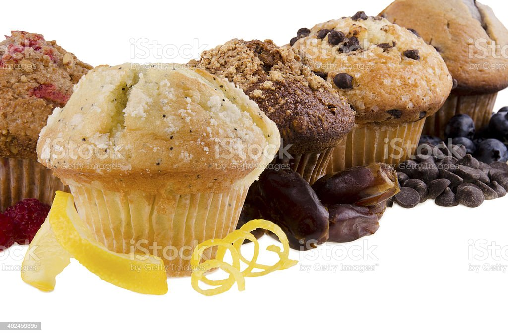 Sweet muffins on white background stock photo