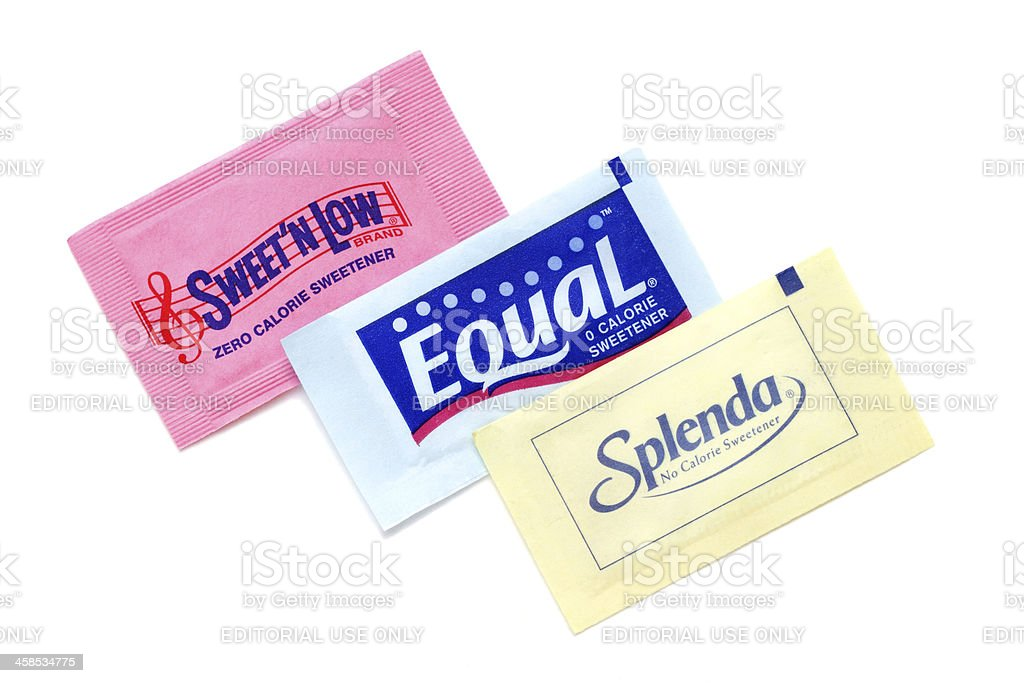 Sweet N Low, Equal, and Splenda artificial sweeteners stock photo
