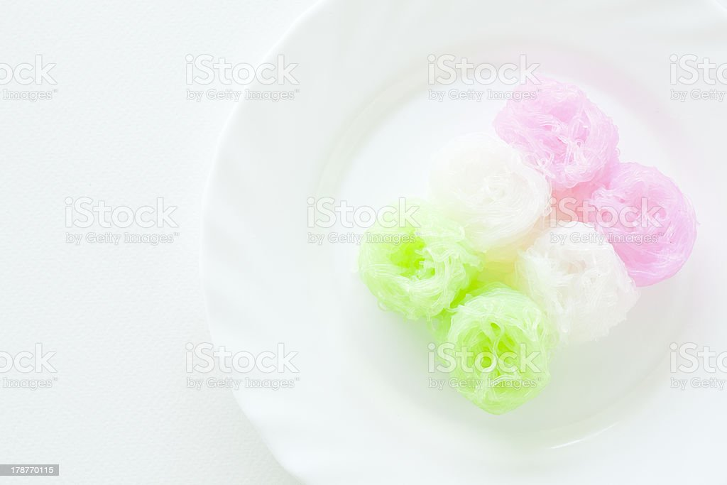 Sweet Noodles in Coconut Milk Syrup stock photo