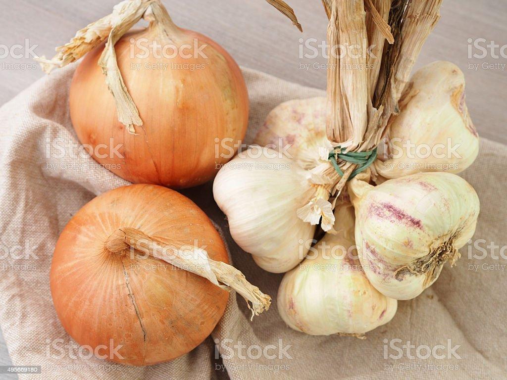 Sweet onions and garlic stock photo