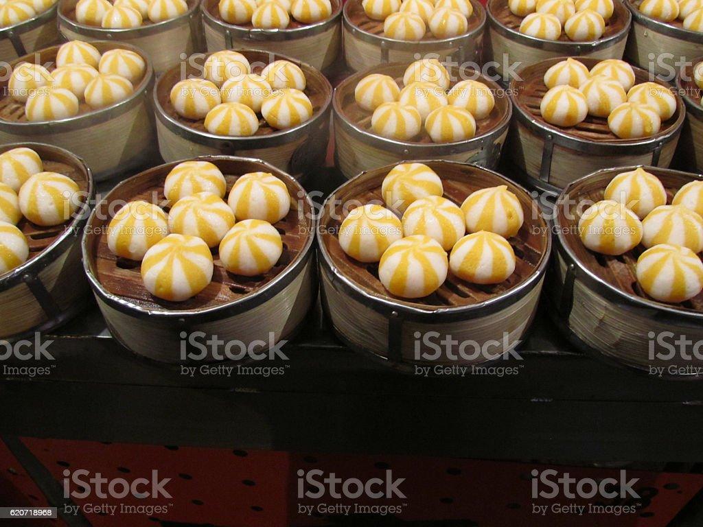 Sweet Orange and White Dumplings stock photo