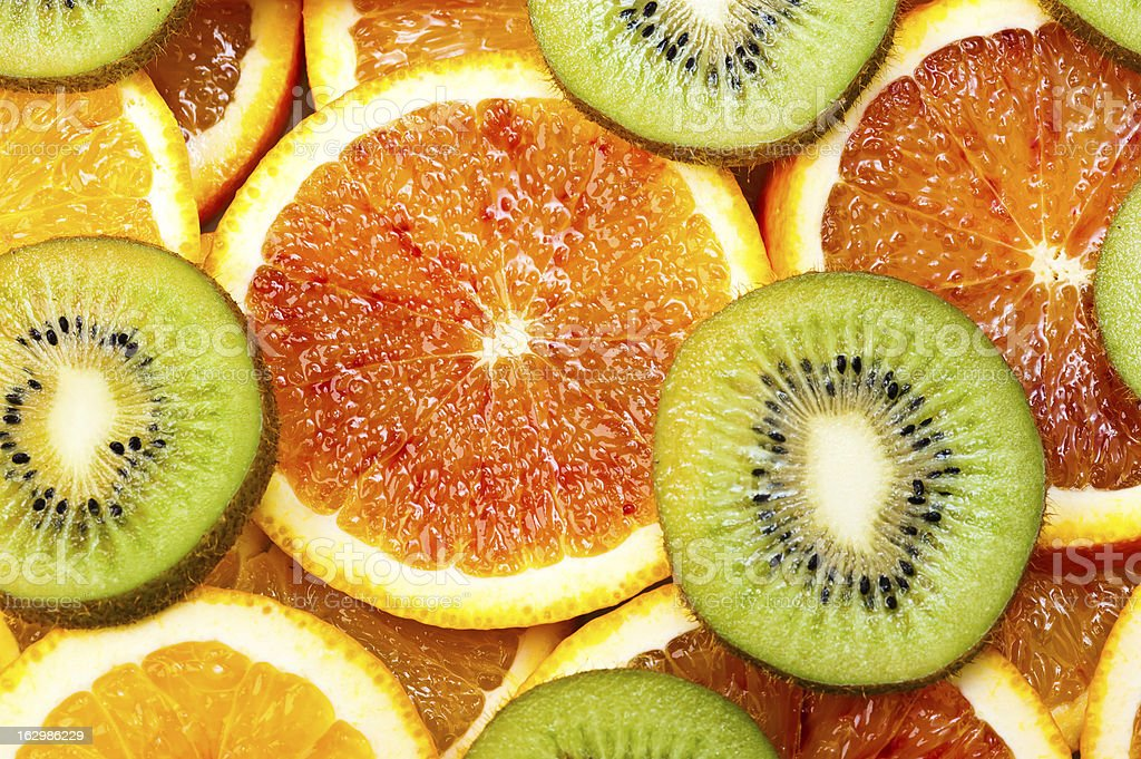 sweet oranges and kiwi royalty-free stock photo