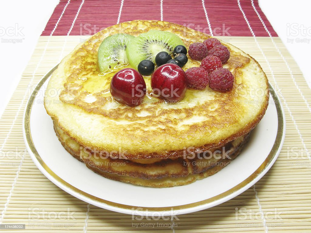 sweet pancakes with fruits royalty-free stock photo