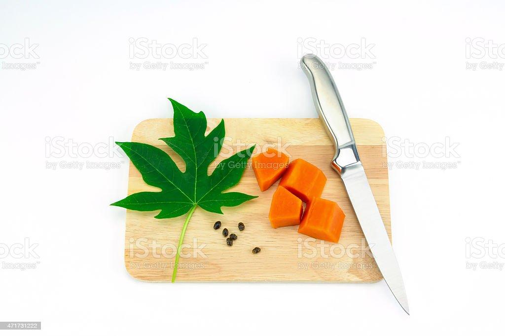 Sweet papaya slice on chopping bord royalty-free stock photo