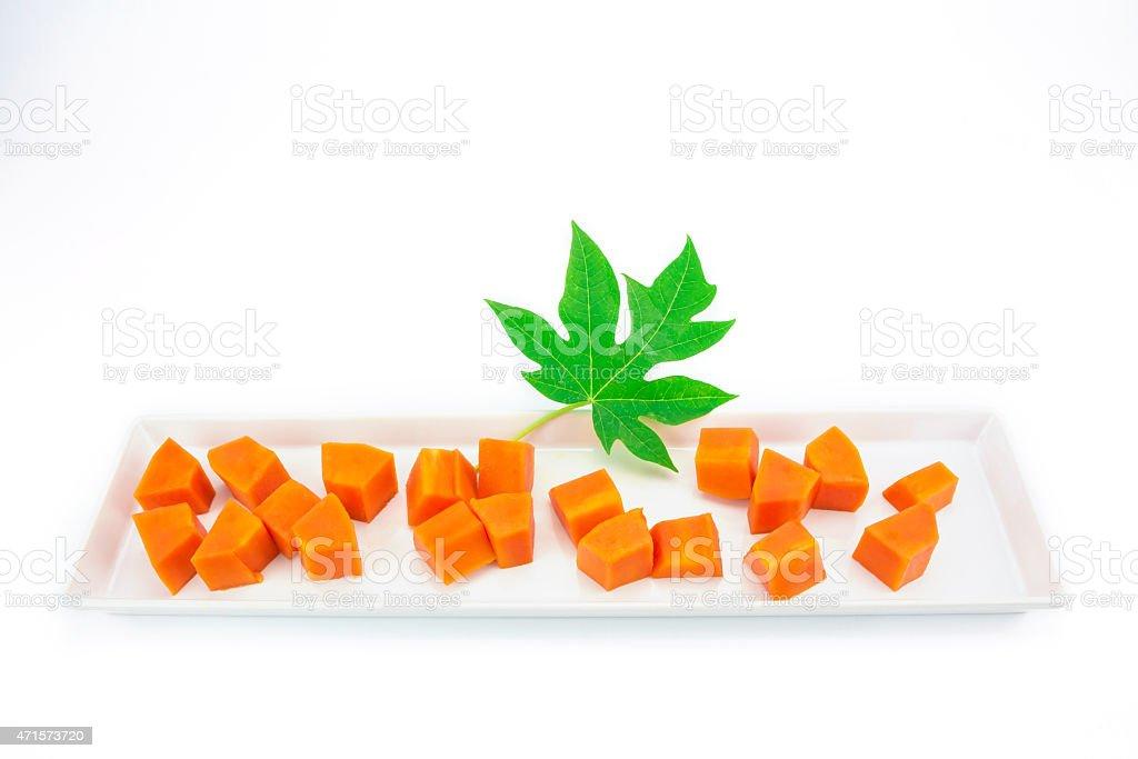 Sweet papaya slice on white ceramic dish royalty-free stock photo