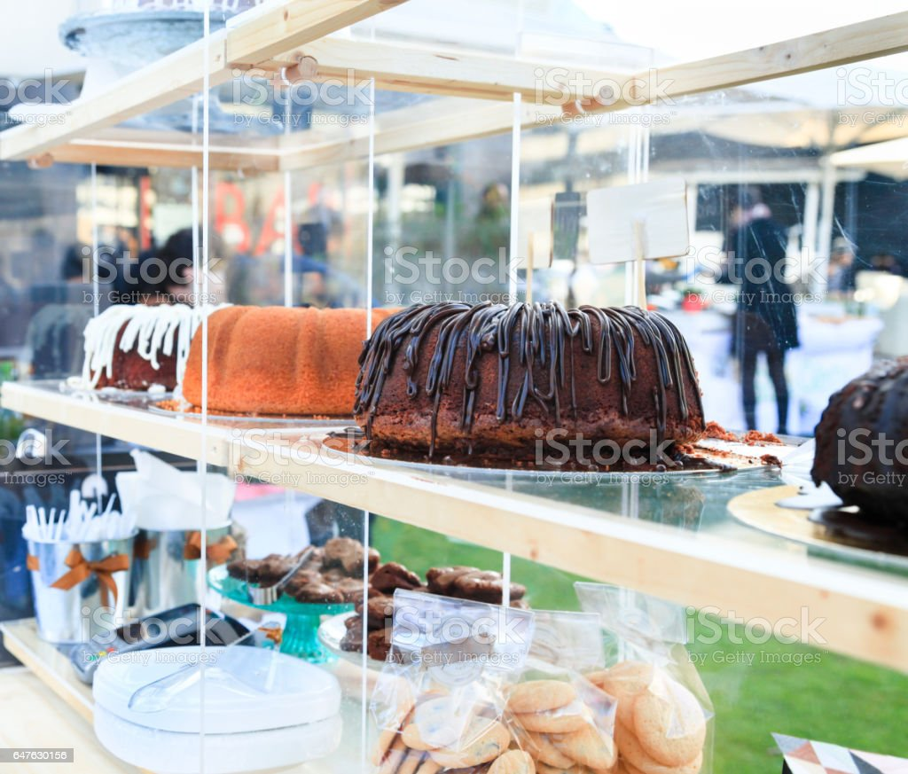 Sweet pastries and cakes stock photo