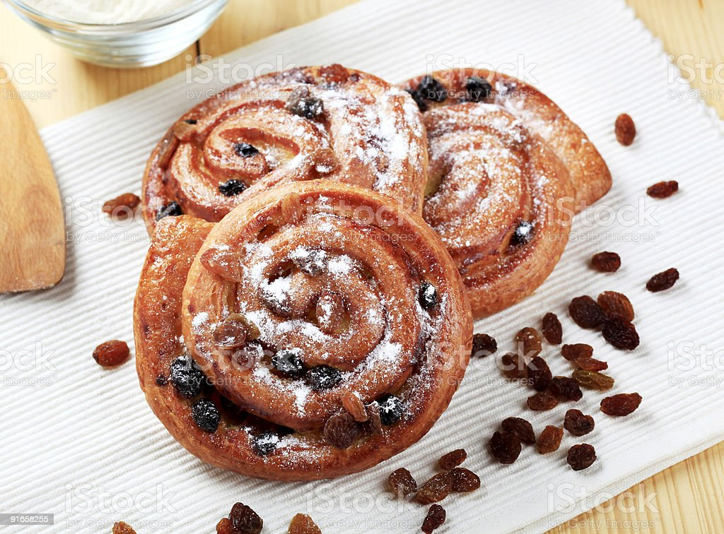 Sweet pastries with raisins royalty-free stock photo