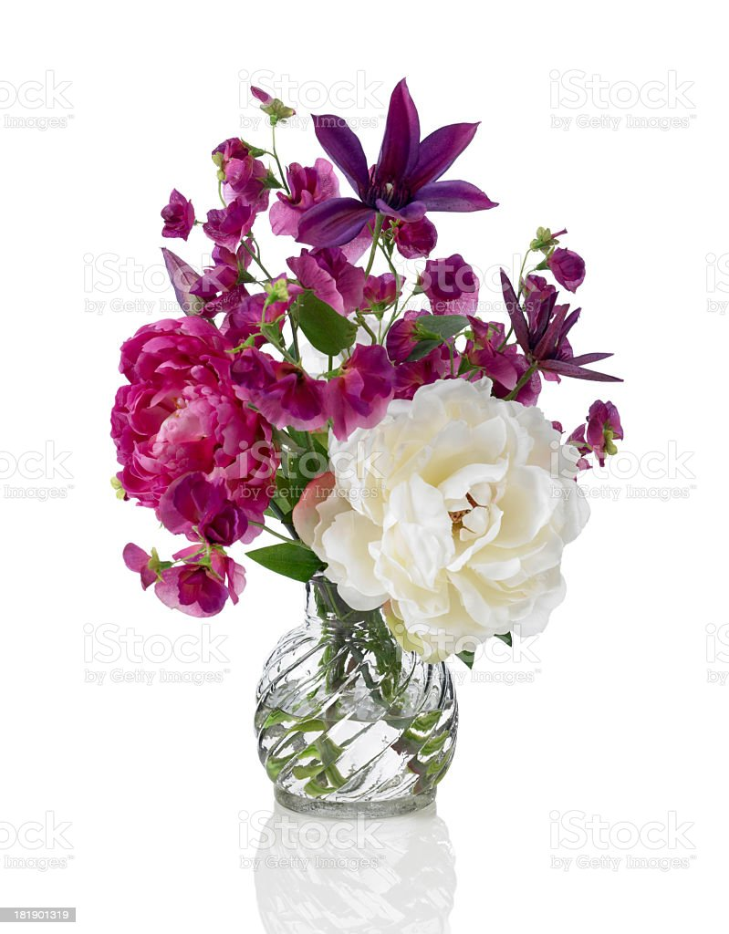 Sweet pea, peony and Clematis bouquet on white background stock photo