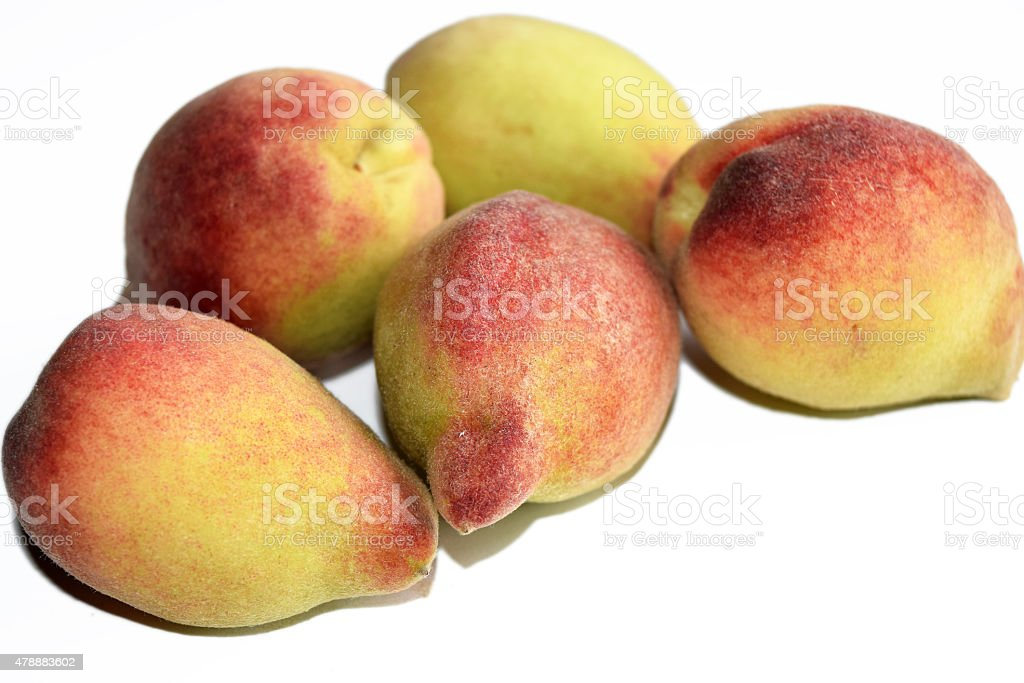 sweet peach fruit  in white isolate background stock photo