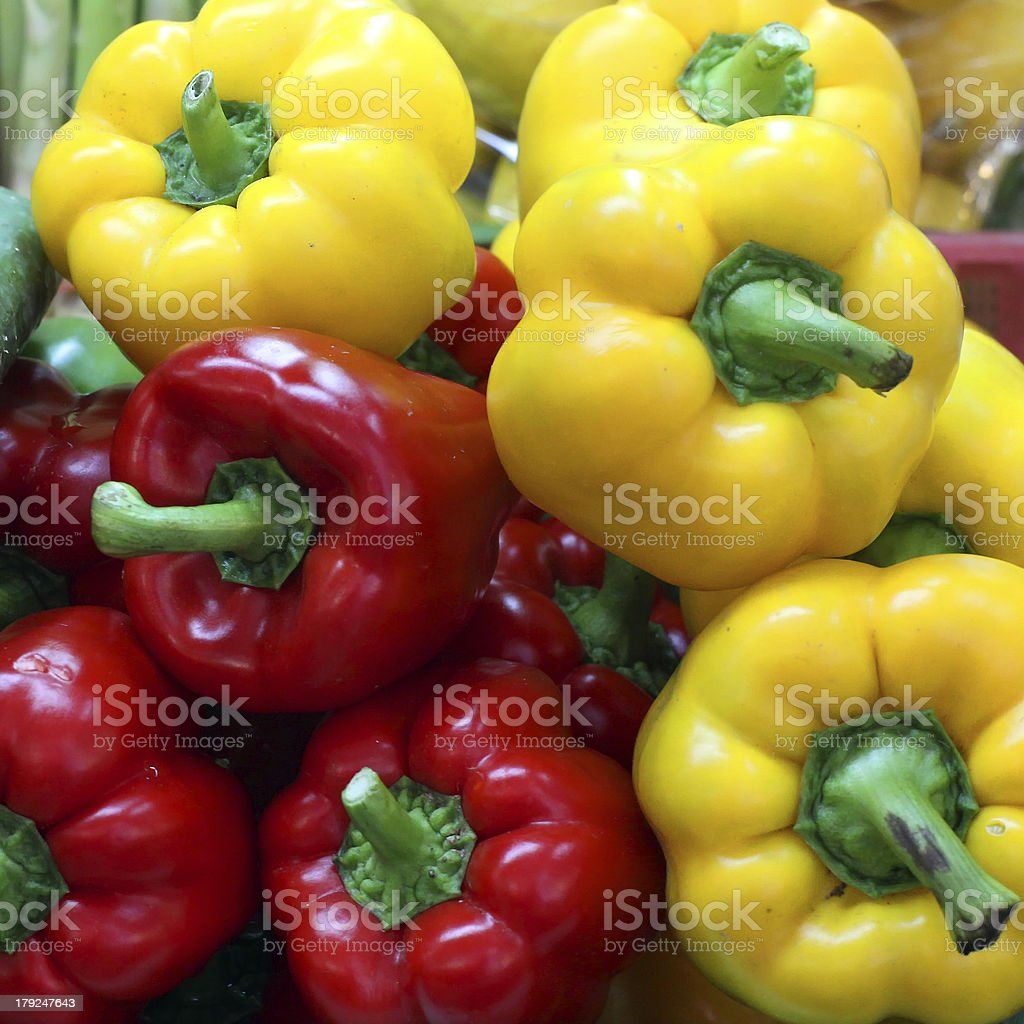 Sweet pepper on market tray royalty-free stock photo