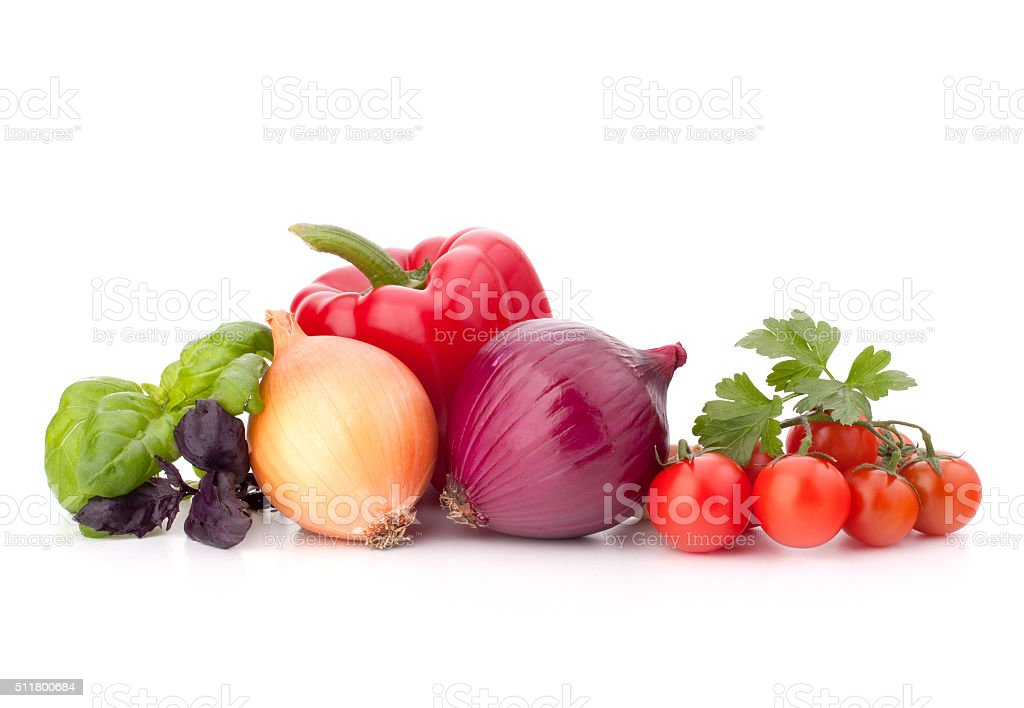 Sweet pepper, onion, tomato  and basil leaves  still life stock photo