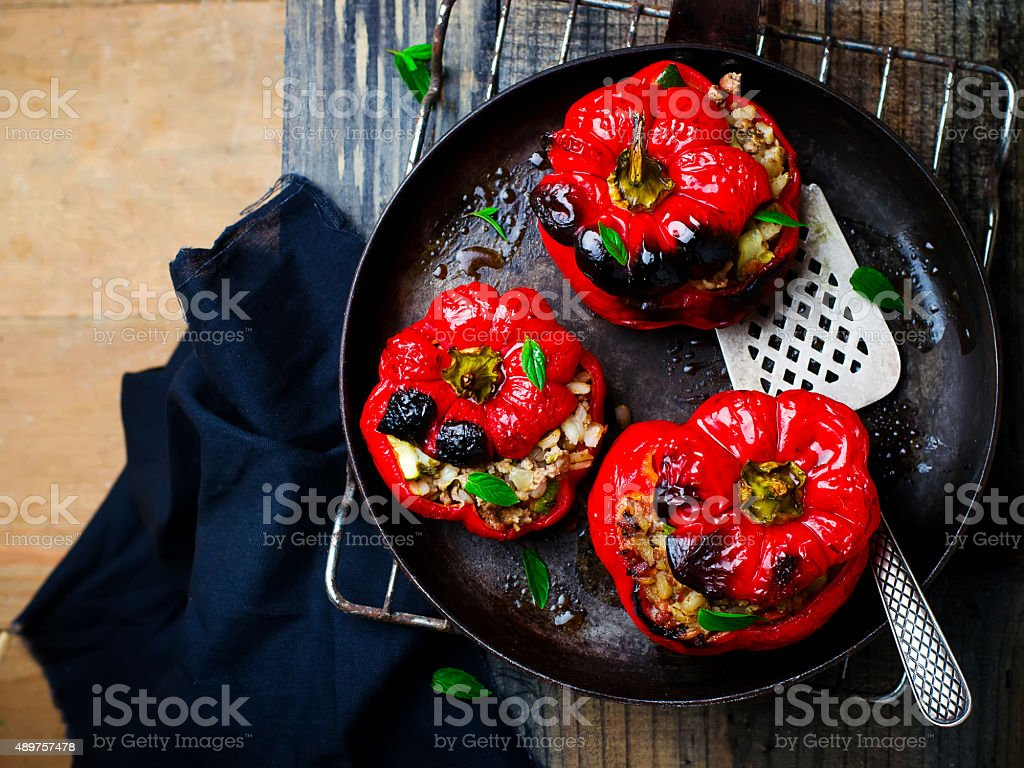 Sweet pepper stuffed with lamb and pearl barley stock photo
