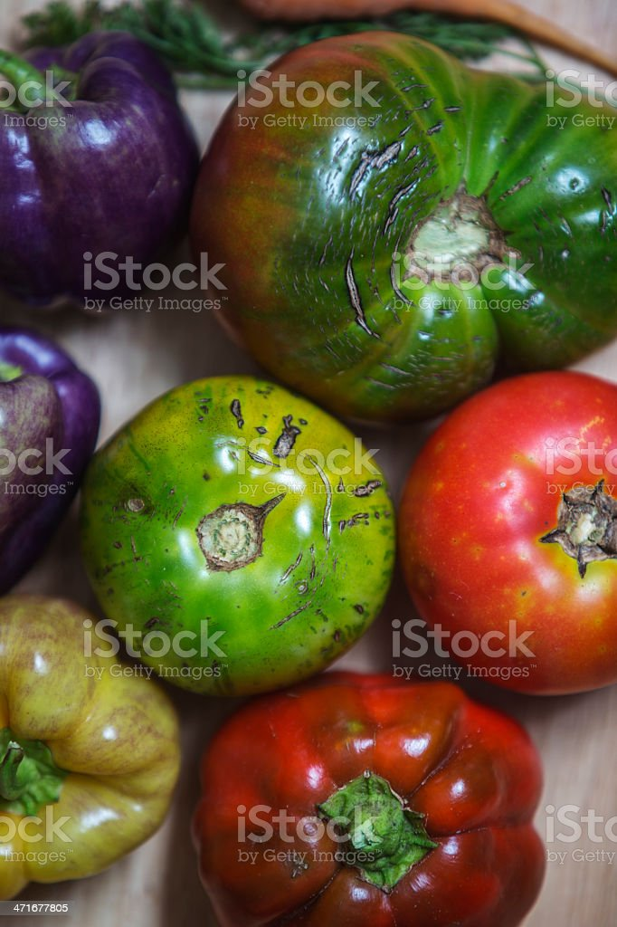 sweet peppes tomatos and carrots on wood royalty-free stock photo