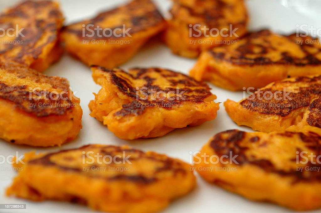 Sweet popatoes pancakes stock photo