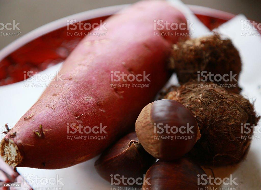 sweet potato and a chestnut and yam foto de stock libre de derechos