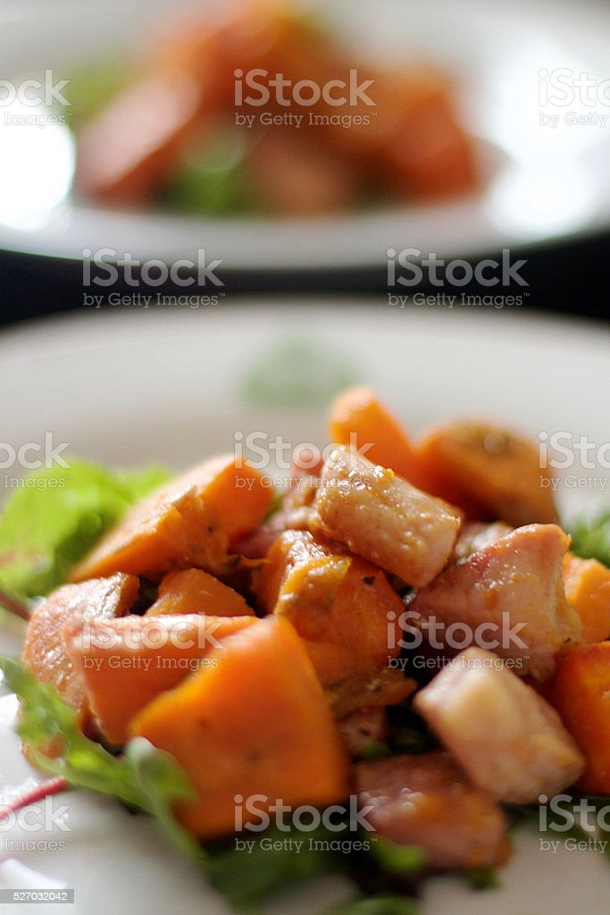 Sweet Potato, Bacon and Salad stock photo
