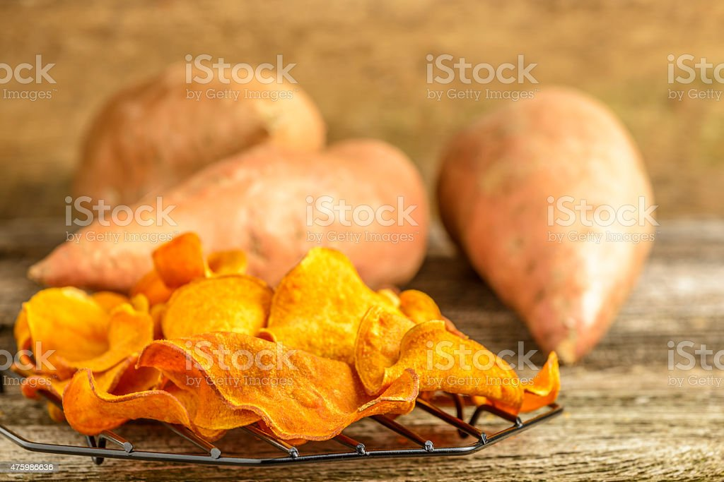 Sweet Potato Chips stock photo