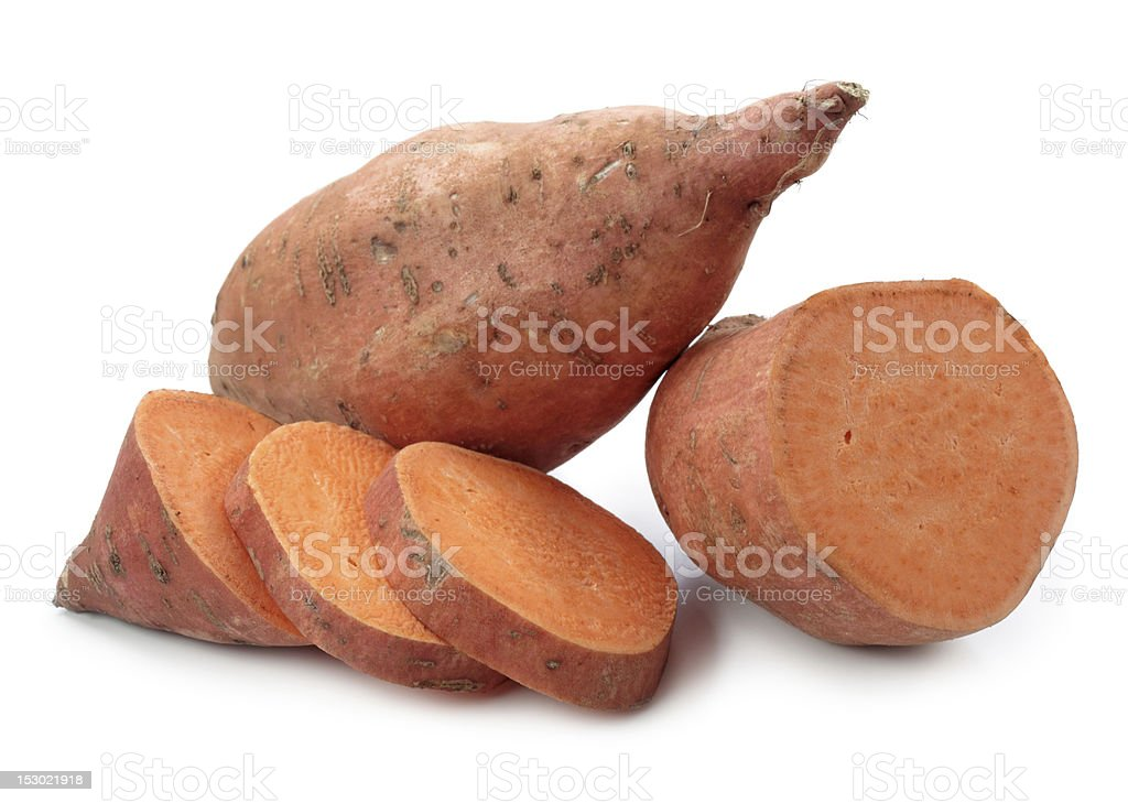 Sweet potato chopped and ready to be cooked stock photo