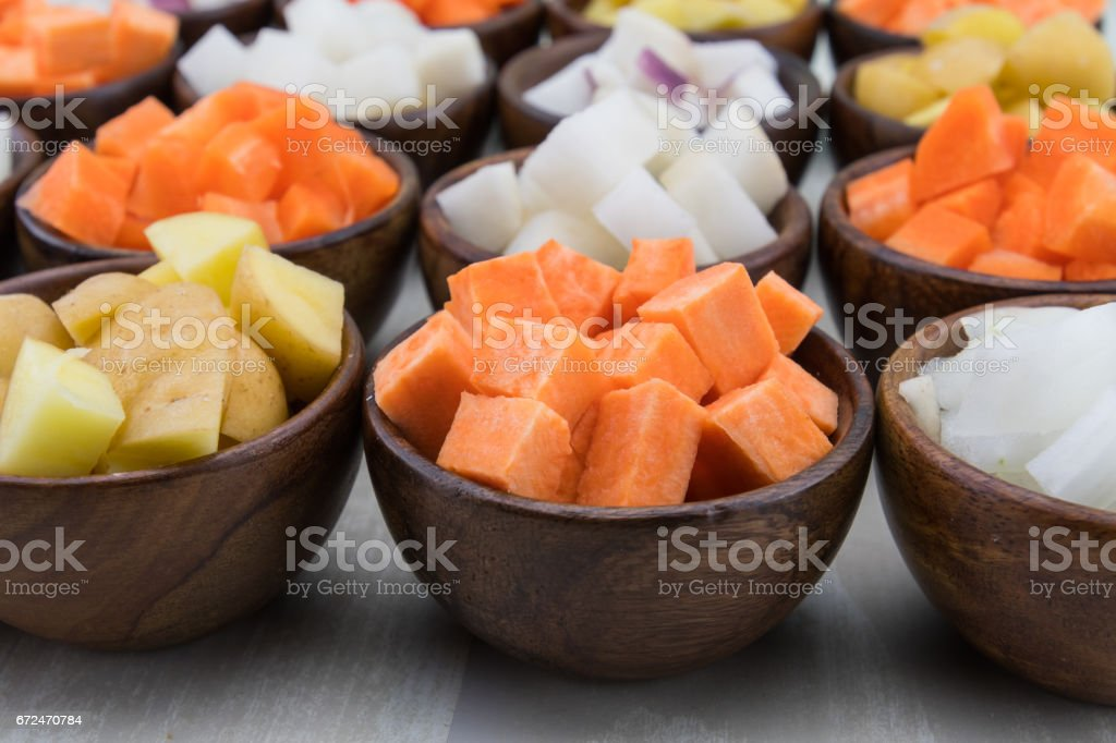 Sweet Potato Cubes in Brown Bowl stock photo