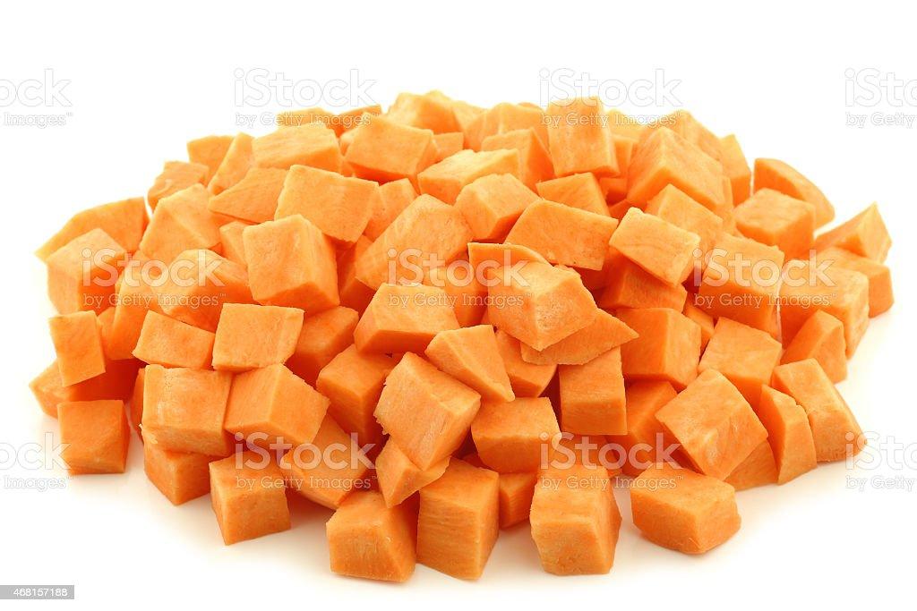 Sweet potato cubes stock photo