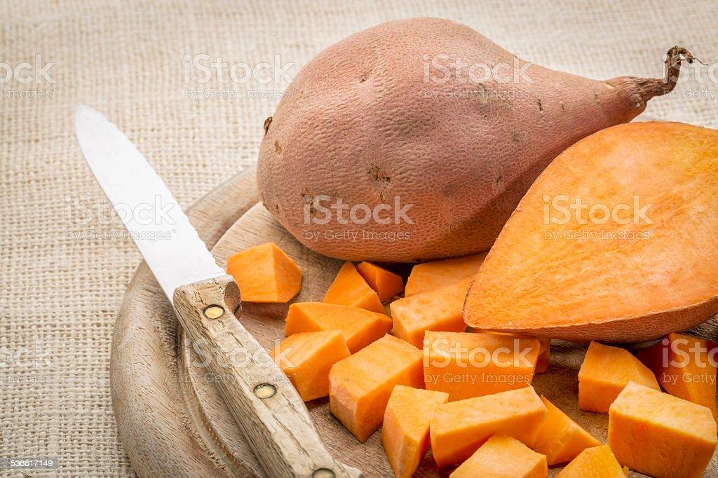 sweet potato diced stock photo