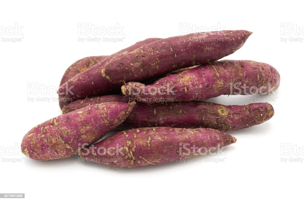 Sweet potato from Japan. Also known as 'yakiimo' is a national dish. on the white background stock photo