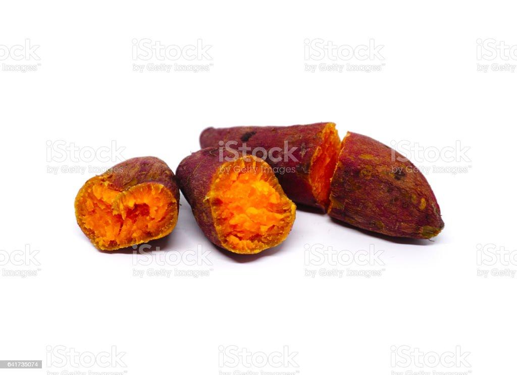 sweet potato isolated on white background stock photo