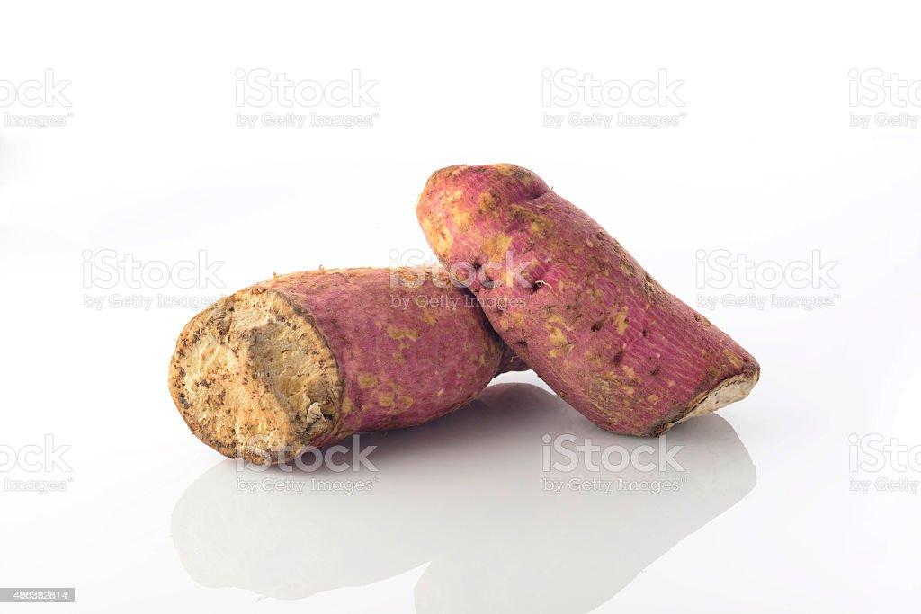 Sweet Potato On White Background Shot in Studio. stock photo