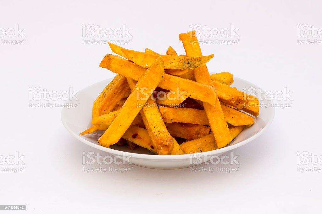 Sweet potato  or kumara fries called 'camote', dicotyledonous plant. stock photo