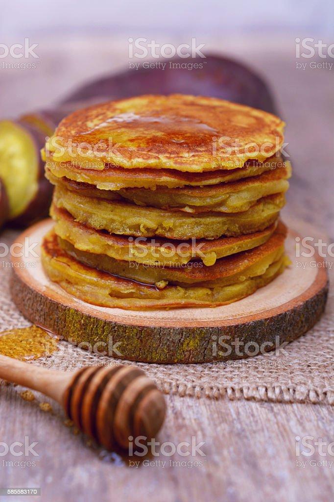 Sweet potato pancakes. stock photo
