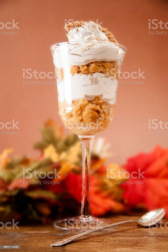Sweet potato parfait dessert with autumn leaves. stock photo