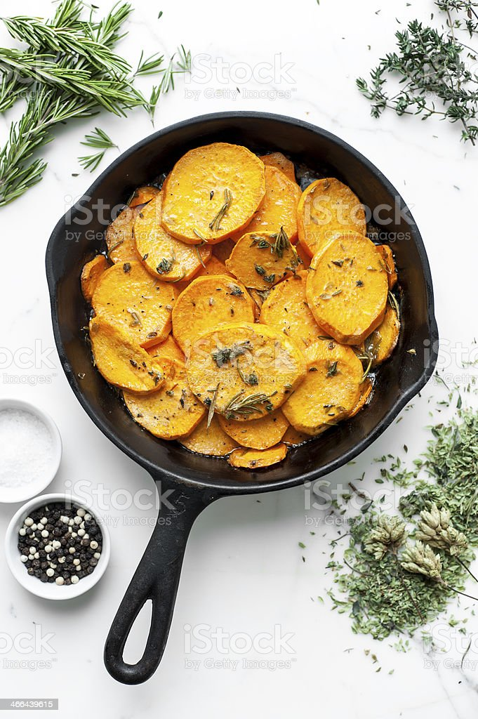 sweet potato pommes Anna stock photo