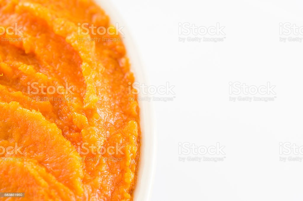 sweet potato puree with copy space stock photo