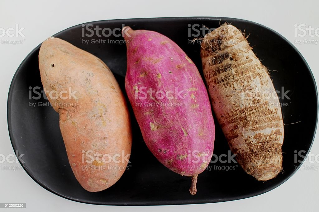 Sweet potato, Purple potato and Taro stock photo