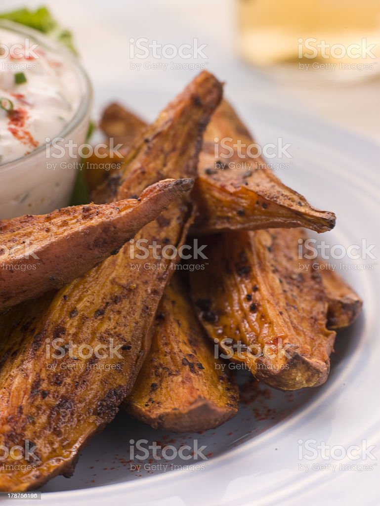 Sweet Potato Skins with a Blue Cheese Dip stock photo