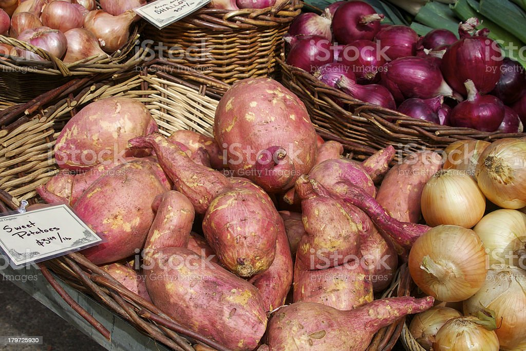 sweet potatoes and onions royalty-free stock photo
