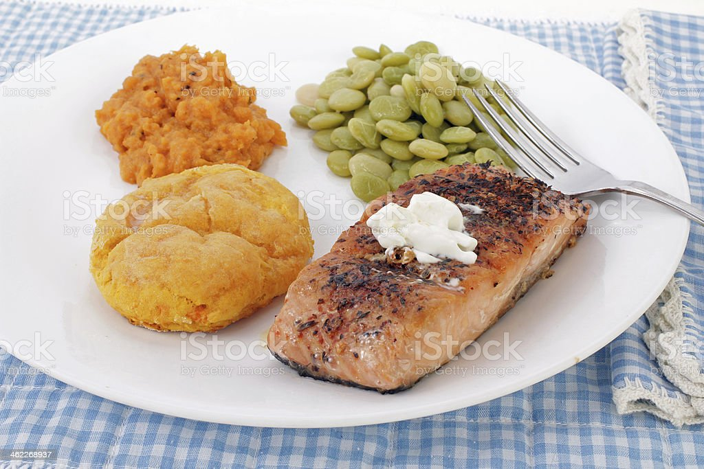 Sweet Potatoes and Salmon stock photo