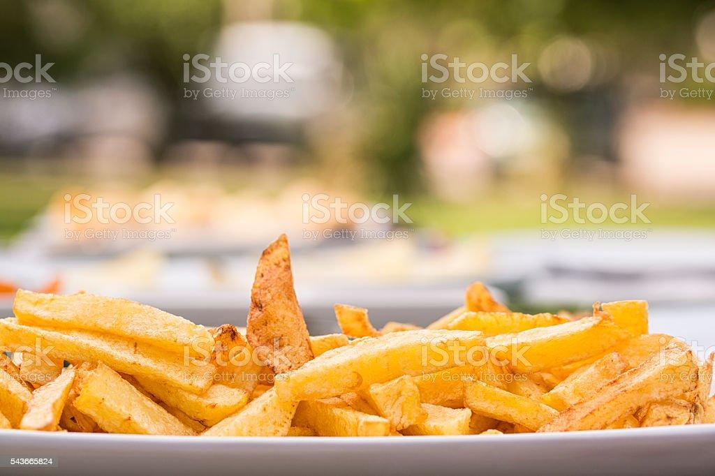 Sweet potatoes fries stock photo